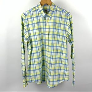 Lacoste Men Button Down Multi Plaid  Shirt 44 1012